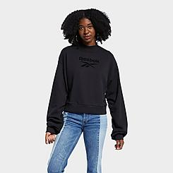 Women's Reebok Classics Mock Neck Crewneck Sweatshirt