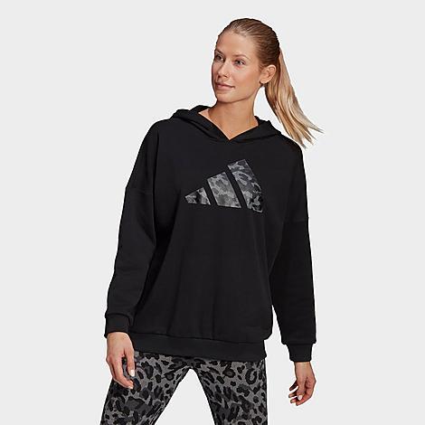 Adidas Originals ADIDAS WOMEN'S SPORTSWEAR LEOPARD PRINT OVERSIZE HOODIE