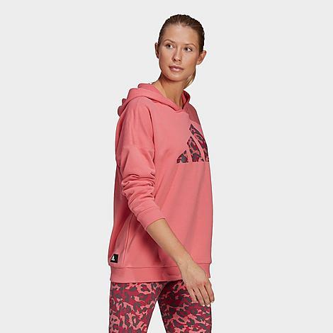 Adidas Originals ADIDAS WOMEN'S SPORTSWEAR LEOPARD PRINT OVERSIZE HOODIE SIZE X-LARGE 100% COTTON