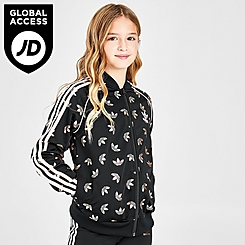 Girls' adidas Originals Allover Gleam Trefoil Logo Print Track Jacket