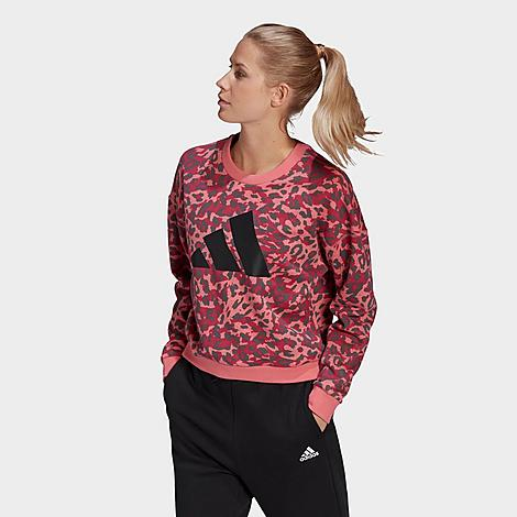 Adidas Originals ADIDAS WOMEN'S SPORTSWEAR LEOPARD PRINT CREWNECK SWEATSHIRT