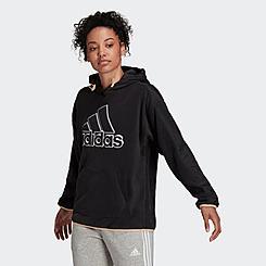 Women's adidas Essentials Brand Love Giant Logo Fleece Pullover Hoodie
