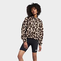 Women's Reebok Classics Printed Sherpa Half-Zip Pullover Jacket