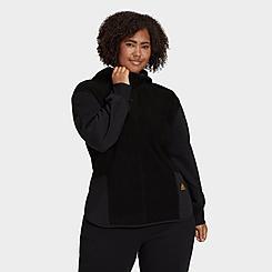 Women's adidas Essentials Golden Logo Sherpa Hoodie (Plus Size)