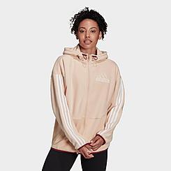 Women's adidas Essentials Brand Love Giant Logo Polar Fleece Hoodie