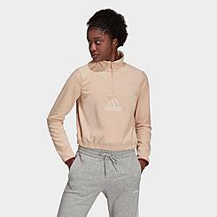 Women's adidas Essentials Brand Love Fleece Embroidered Logo Half-Zip Sweatshirt