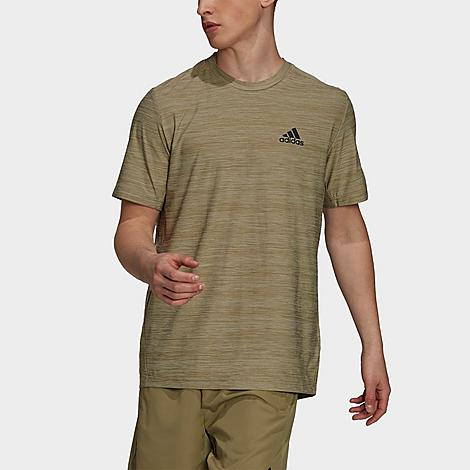 Adidas Men's AEROREADY Designed 2 Move Sport Stretch T-Shirt in Green/Orbit Green Mel Size Large Polyester/Jersey Size & Fit Standard fit is athletic and relaxed Made from Sustainable Materials This eco-friendly product is made with Primegreen, a series of high-performance recycled materials. 92% recycled polyester, 8% elastane single jersey Product Features Lightweight and breathable material supplies all-day comfort AEROREADY material absorbs water quickly to wick moisture to keep you cool and dry Extended back hem and angled side seams yield extra coverage Crewneck cut with short sleeves for a classic silhouette Machine wash The adidas AEROREADY Designed 2 Move Sport Stretch T-Shirt is imported. Find your new favorite everyday tee with the Men's adidas AEROREADY Designed 2 Move Sport Stretch T-Shirt. This intelligently-engineered shirt offers complete freedom of motion to support your each and every move to push you forward, not hold you back. Size: Large. Gender: male. Age Group: adult. Material: Polyester/Jersey. Adidas Men's AEROREADY Designed 2 Move Sport Stretch T-Shirt in Green/Orbit Green Mel Size Large Polyester/Jersey