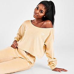 Women's adidas Originals Velour Off The Shoulder Sweatshirt