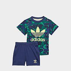 Boys' Infant and Toddler adidas Originals Allover Camo Print T-Shirt and Shorts Set