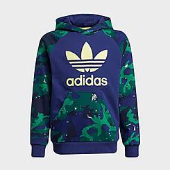 Kids' adidas Originals Camo-Print Blocked Pullover Hoodie