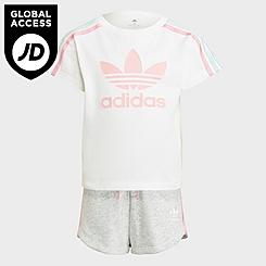 Girls' Little Kids' adidas Originals 3-Stripes T-Shirt and Shorts Set