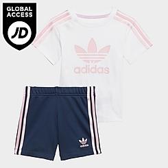 Girls' Infant and Toddler adidas Originals 3-Stripes T-Shirt and Shorts Set