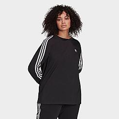 Women's adidas Originals Adicolor Classics 3-Stripes Long-Sleeve T-Shirt (Plus Size)