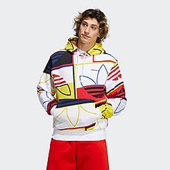 Men's adidas Originals Allover Play Logo Graphic Pullover Hoodie