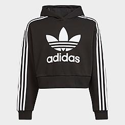 Girls' adidas Originals Adicolor Cropped Pullover Hoodie
