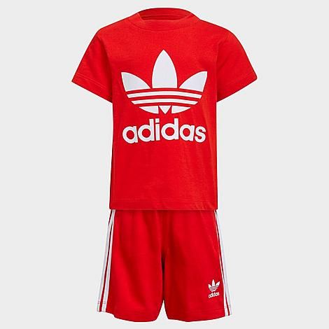 Babies' Adidas Kids' Infant And Toddler Originals Trefoil T-shirt And Shorts Set In Red