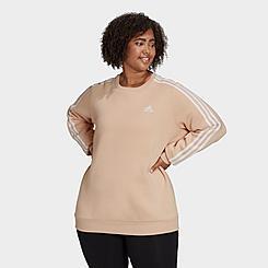 Women's adidas Essentials 3-Stripes Fleece Crewneck Sweatshirt (Plus Size)