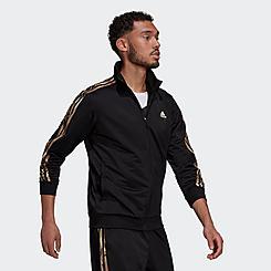 Men's adidas Primegreen Essentials Warm-Up 3-Stripes Camo Track Jacket