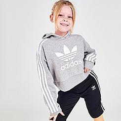 Girls' adidas Originals Trefoil Cropped Pullover Hoodie
