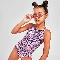 Girls' Nike Animal Print Spiderback One-Piece Swimsuit