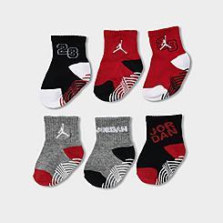 Boys' Infant and Kids' Toddler Jordan Jumpman Gripper Quarter Socks (6-Pack)