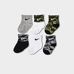 Boys' Infant and Kids' Toddler Nike Gripper Quarter Socks (6-Pack)
