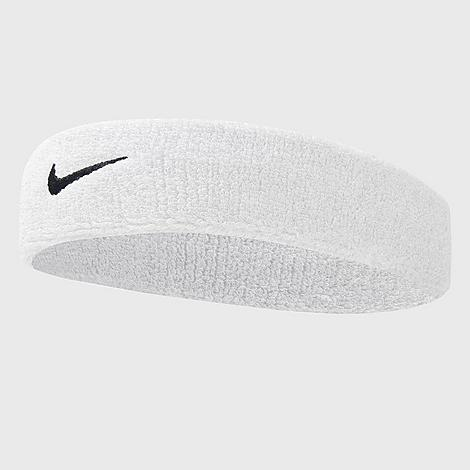 Stretchy, comfortable fabric is highly absorbent Embroidered Swoosh logo for classic Nike styling 72% cotton, 12% nylon, 11% polyester, 4% rubber, 1% spandex The Nike Swoosh Headband is imported. Don\\\'t let sweat interfere with your game. Instead, sport the Nike Swoosh Headband. Stretchy and comfortable, this absorbent headband soaks up sweat to keep you going. Plus, the Nike Swoosh front and center adds style to your game. Size: One size. Color: White. Gender: unisex. Age Group: adult. Material: Cotton/Nylon/Polyester. Nike Swoosh Headband in White/White Cotton/Nylon/Polyester