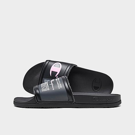 Champion Girls' Big Kids' IPO Jock Tag Slide Sandals in Black/Black Size 6.0 Durable, lightweight PU upper Embossed big C and jock tag printed upper for a sporty vibe Brushed lining for elevated comfort Contoured one-piece lightly padded midsole for a cushioned feel Grippy, logo tread sole 100% PVC The Champion IPO Jock Tag Slide Sandals are imported. Amp up any sporty-chic look with a low-key vibe rocking the Girls' Big Kids' Champion IPO Jock Tag Slide Sandals. Featuring a lightly padded contoured footbed and brand-embellished upper with brushed backing, they're both comfy and stylish. Size: 6.0. Color: Black. Gender: female. Champion Girls' Big Kids' IPO Jock Tag Slide Sandals in Black/Black Size 6.0