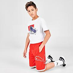 Boys' Puma Wrap Logo Mesh Shorts