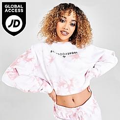 Women's Pink Soda Sport Tie-Dye Crop Crewneck Sweatshirt