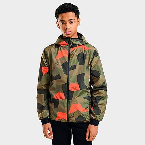 Rascal Boys' Allover Print Camo Pop Windbreaker Jacket in Green Size X-Large Polyester