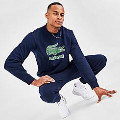 Men's Lacoste Crackled Print Logo Fleece Crewneck Sweatshirt