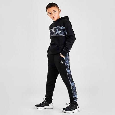 Sonneti Boys' Bondi Fleece Jogger Pants in Black/Camo/Black Size Large Fleece/Knit