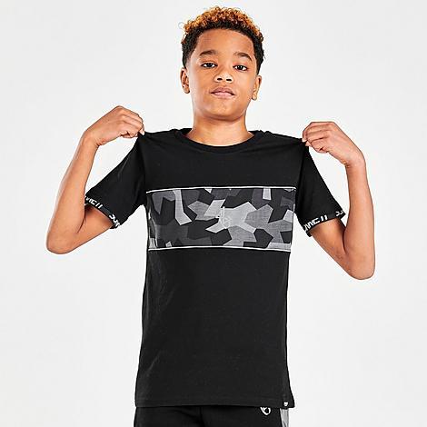 Sonneti Boys' Bondi Camo T-Shirt in Black/Camo/Black Size X-Large 100% Cotton/Knit