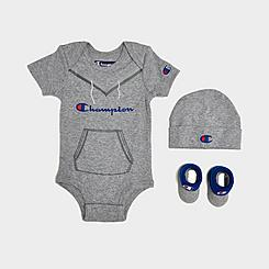 Infant Champion Script Logo 3-Piece Bib, Bootie and Bodysuit Set