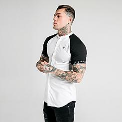 Men's SikSilk Raglan Button-Down T-Shirt
