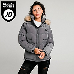 Women's SikSilk Padded Faux Fur Puffer Hooded Jacket