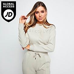 Women's SikSilk Half Cropped Crewneck Sweatshirt