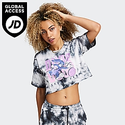 Women's SikSilk x Space Jam Tie-Dye Crop T-Shirt